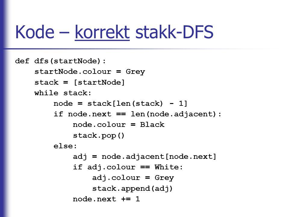 Kode – korrekt stakk-DFS