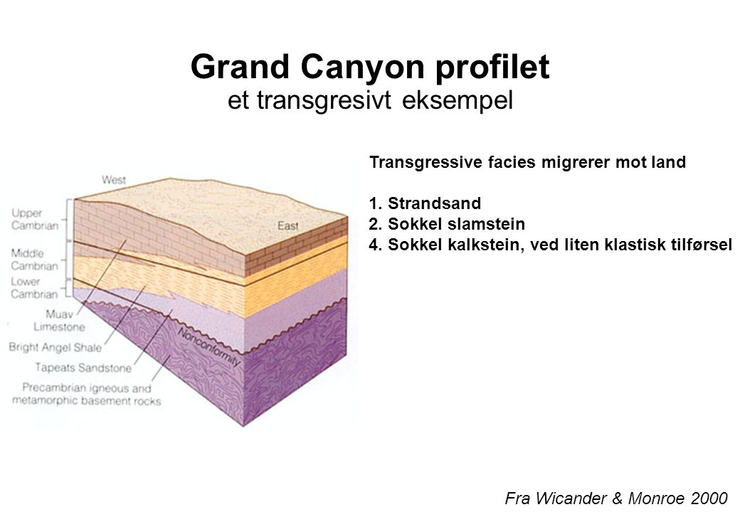 Grand Canyon profilet et transgresivt eksempel