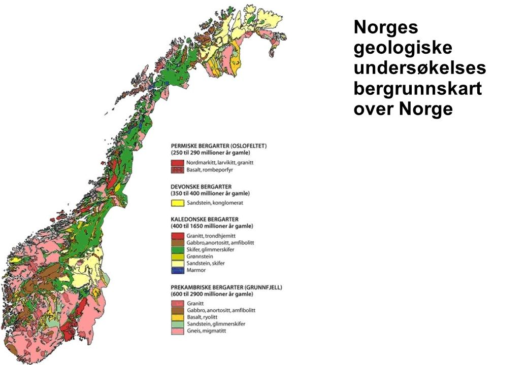 Norges geologiske undersøkelses bergrunnskart over Norge