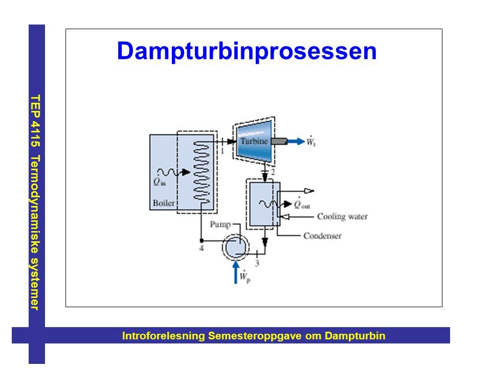 Introforelesning Semesteroppgave om Dampturbin