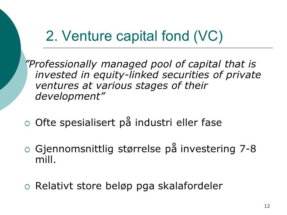 2. Venture capital fond (VC)