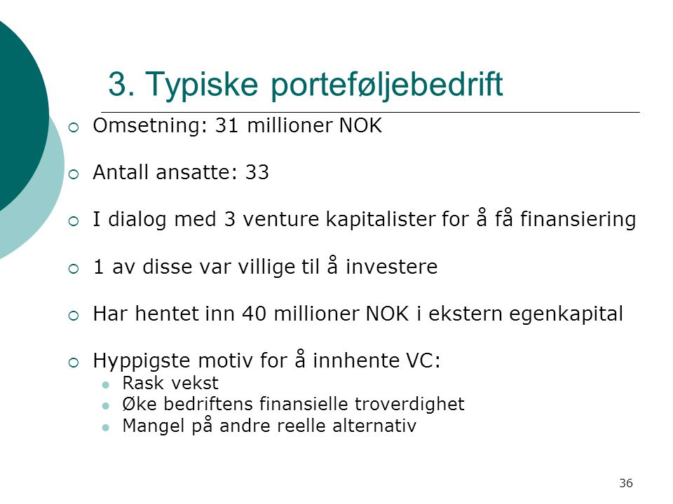 3. Typiske porteføljebedrift