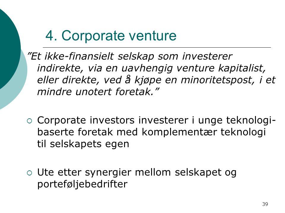 4. Corporate venture