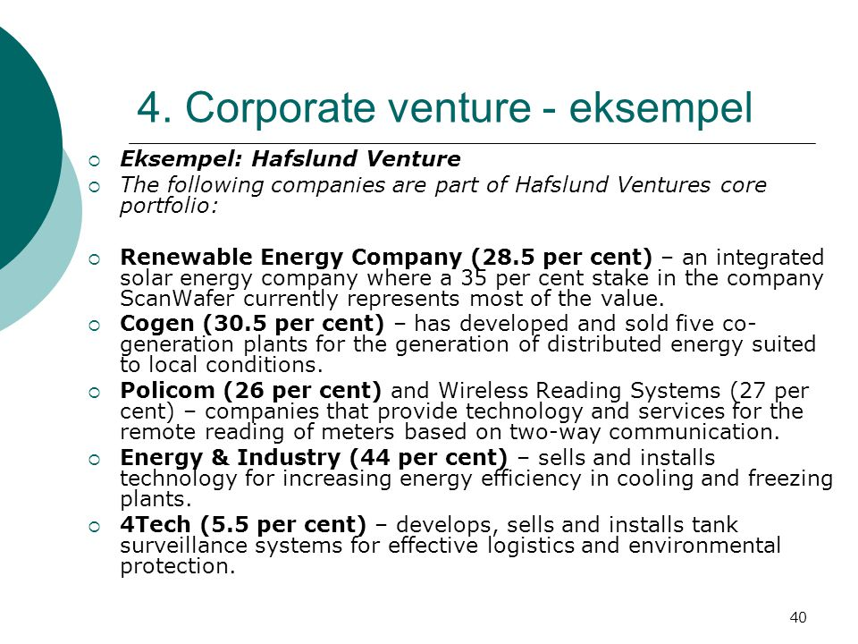 4. Corporate venture - eksempel