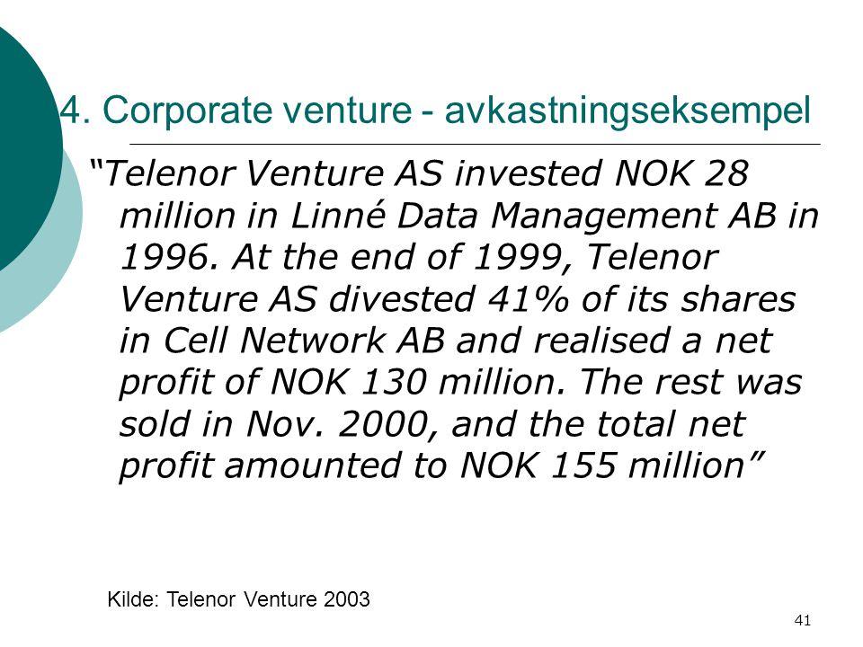 4. Corporate venture - avkastningseksempel