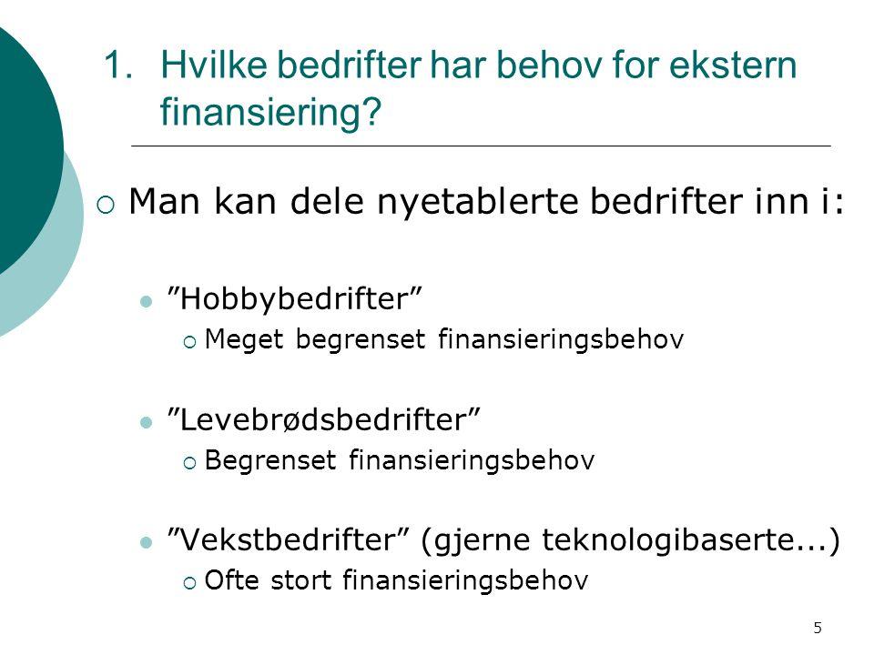 Hvilke bedrifter har behov for ekstern finansiering