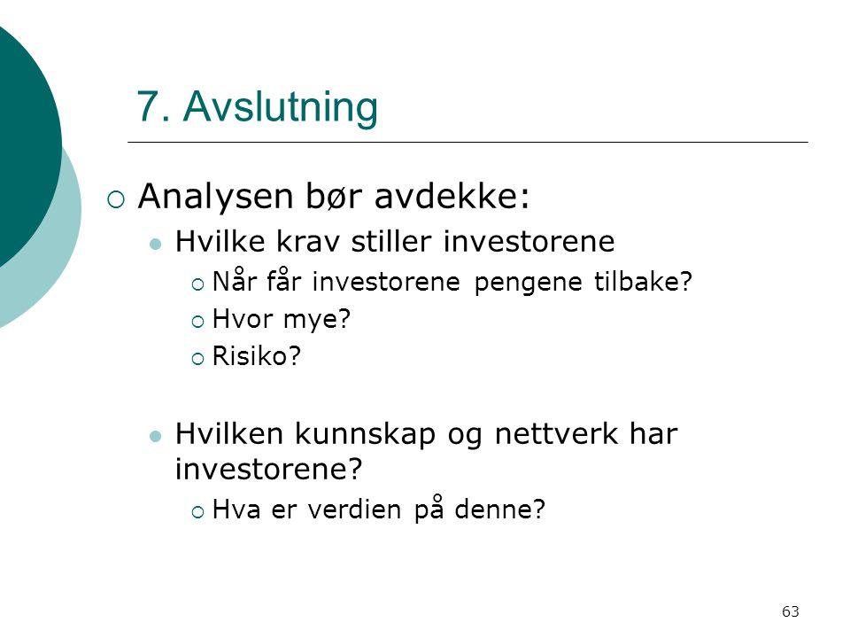 7. Avslutning Analysen bør avdekke: Hvilke krav stiller investorene