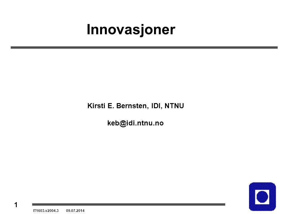 Kirsti E. Bernsten, IDI, NTNU