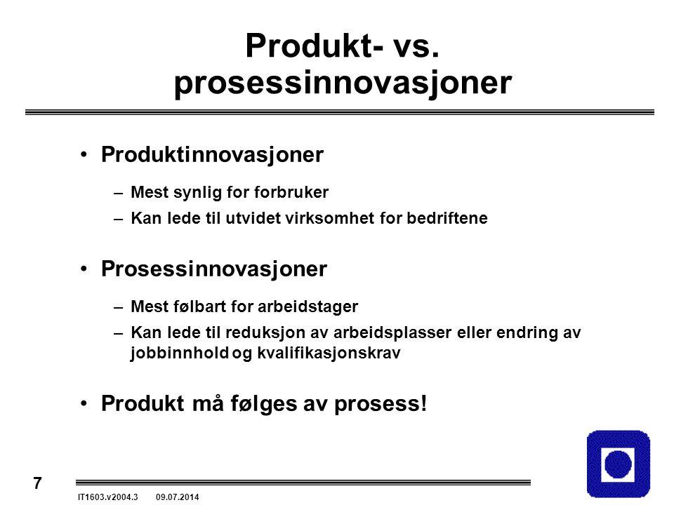 Produkt- vs. prosessinnovasjoner