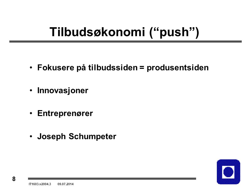 Tilbudsøkonomi ( push )