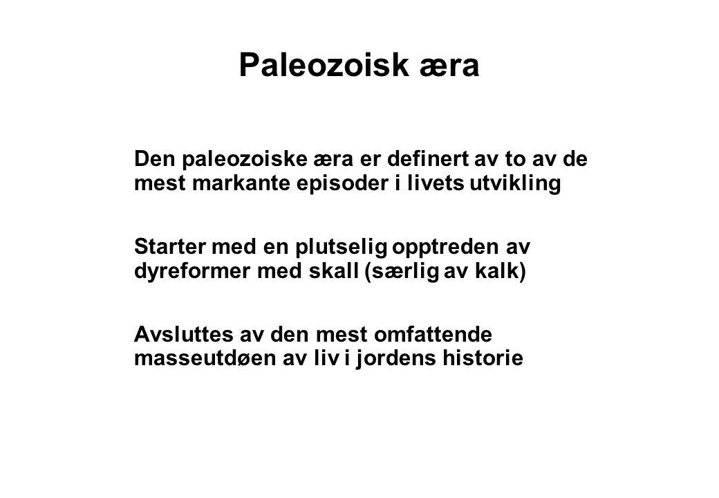 Paleozoisk æra Den paleozoiske æra er definert av to av de mest markante episoder i livets utvikling.
