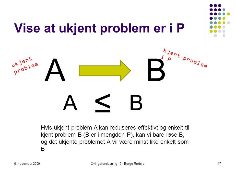 Vise at ukjent problem er i P
