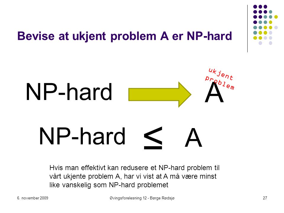 Bevise at ukjent problem A er NP-hard