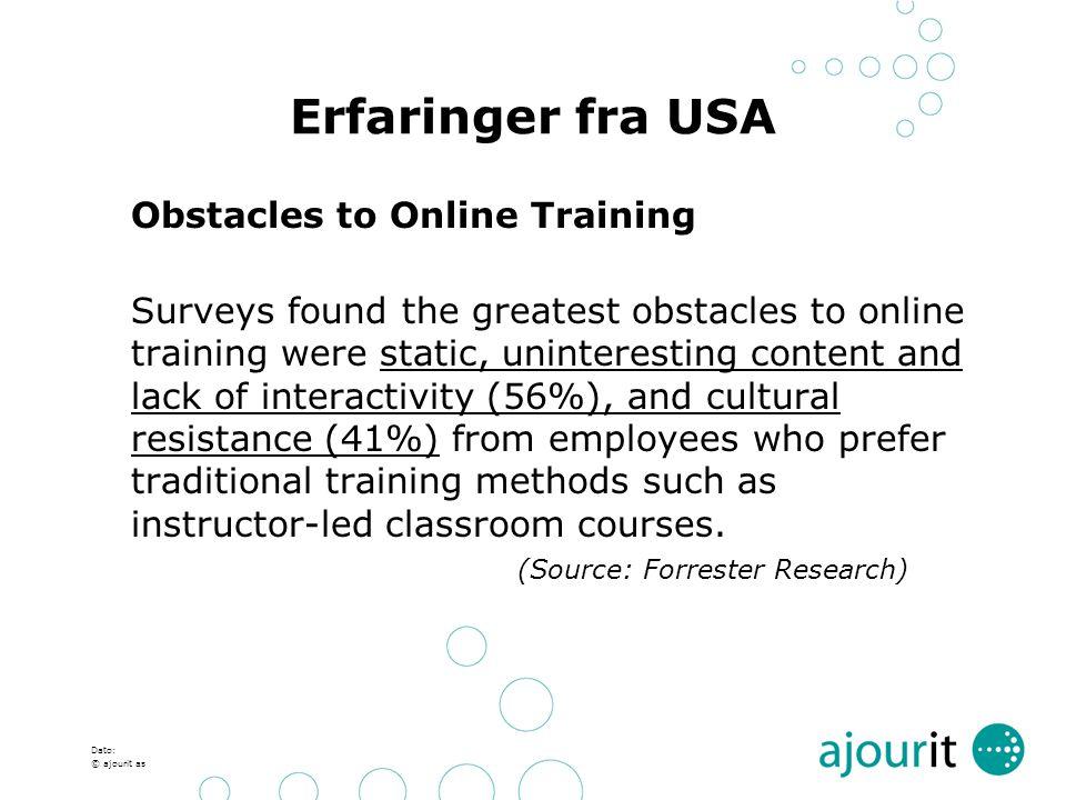 Erfaringer fra USA Obstacles to Online Training