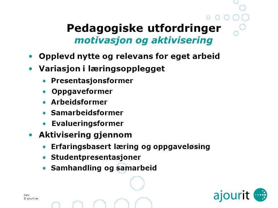 Pedagogiske utfordringer motivasjon og aktivisering