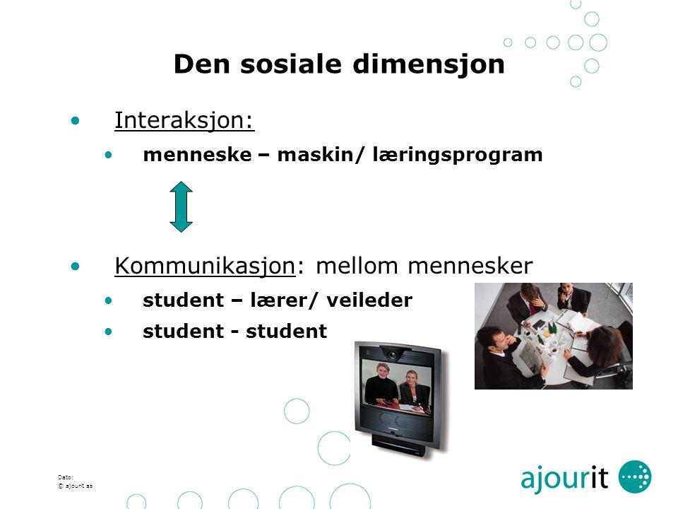 Den sosiale dimensjon Interaksjon: Kommunikasjon: mellom mennesker