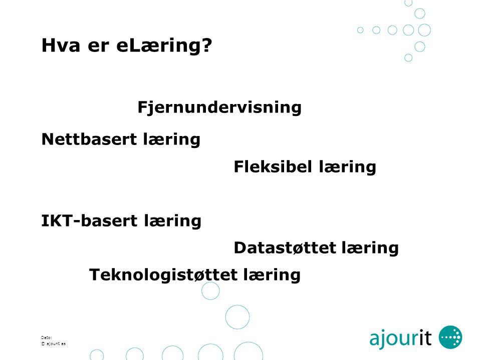 Fjernundervisning Hva er eLæring Nettbasert læring Fleksibel læring
