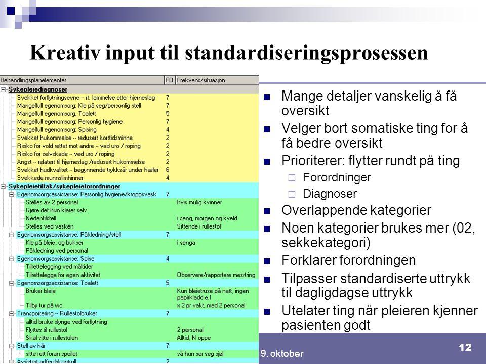 Kreativ input til standardiseringsprosessen