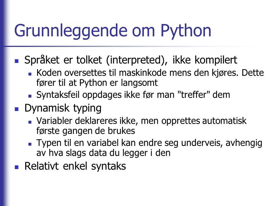 Grunnleggende om Python