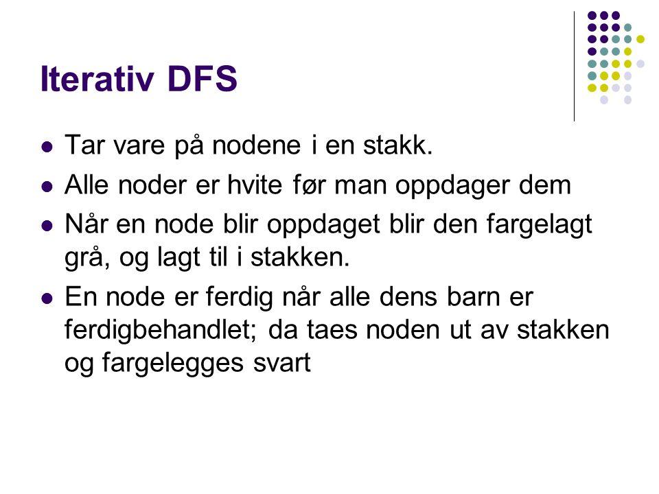 Iterativ DFS Tar vare på nodene i en stakk.