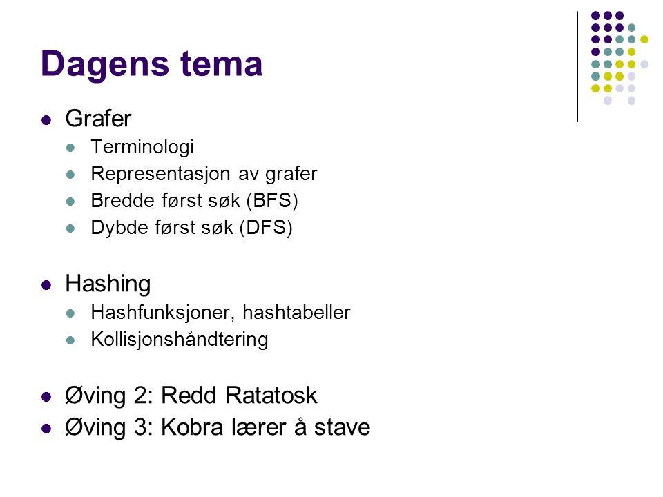 Dagens tema Grafer Hashing Øving 2: Redd Ratatosk