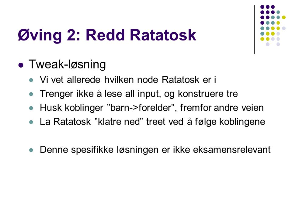 Øving 2: Redd Ratatosk Tweak-løsning
