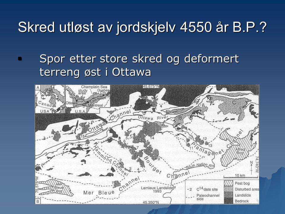 Skred utløst av jordskjelv 4550 år B.P.