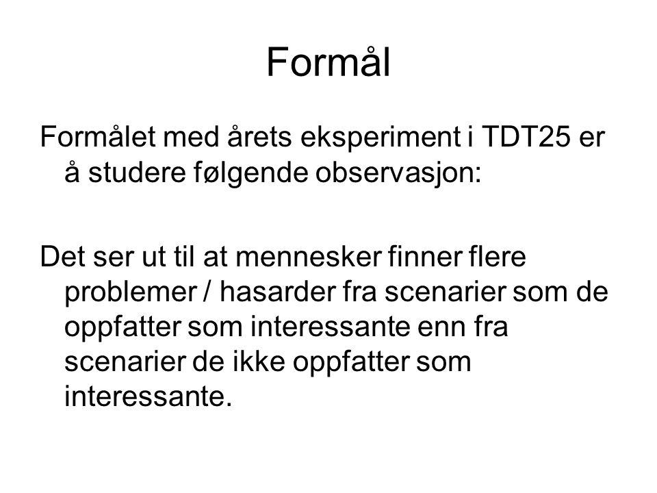 Formål Formålet med årets eksperiment i TDT25 er å studere følgende observasjon: