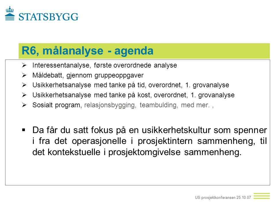 R6, målanalyse - agenda Interessentanalyse, første overordnede analyse. Måldebatt, gjennom gruppeoppgaver.