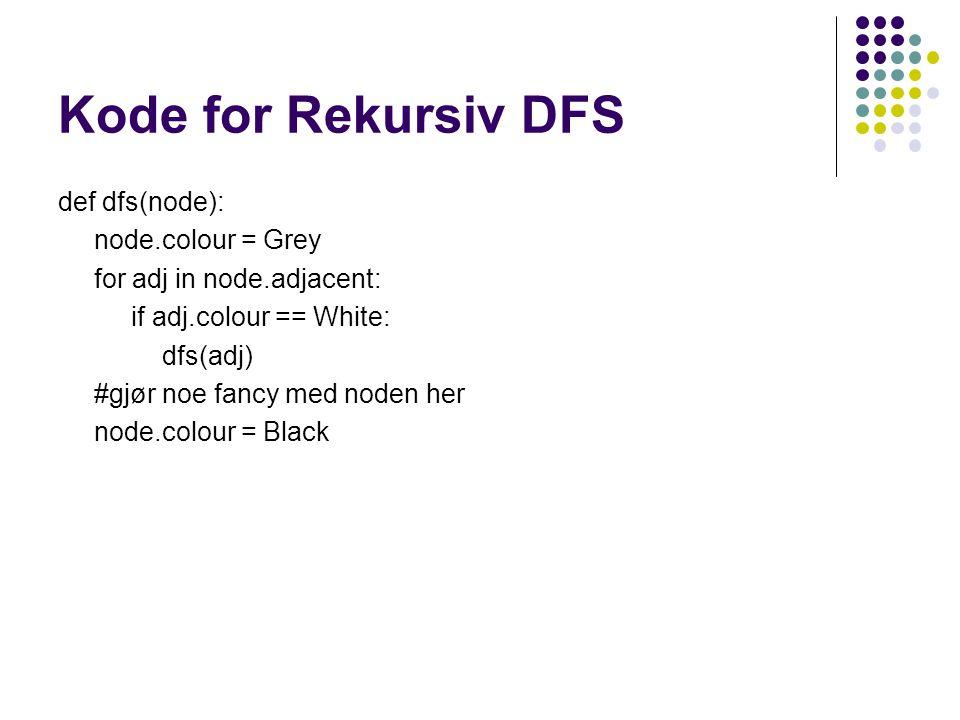 Kode for Rekursiv DFS