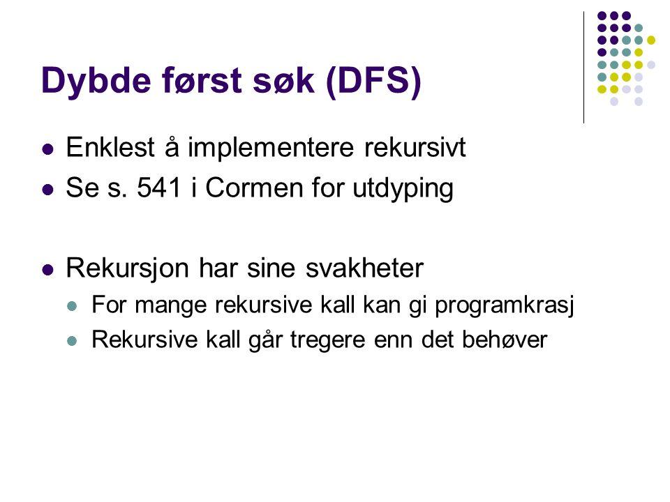 Dybde først søk (DFS) Enklest å implementere rekursivt