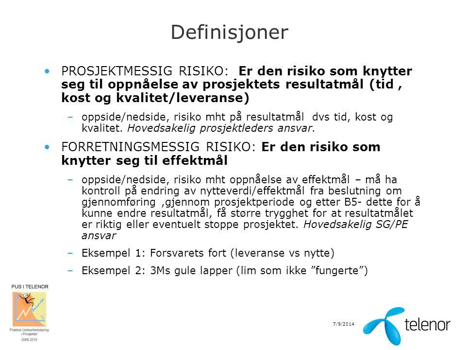 Definisjoner PROSJEKTMESSIG RISIKO: Er den risiko som knytter seg til oppnåelse av prosjektets resultatmål (tid , kost og kvalitet/leveranse)