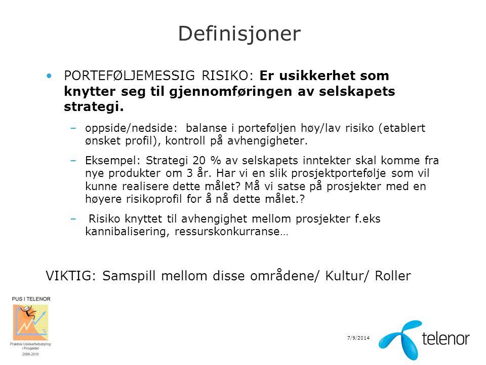 Definisjoner PORTEFØLJEMESSIG RISIKO: Er usikkerhet som knytter seg til gjennomføringen av selskapets strategi.