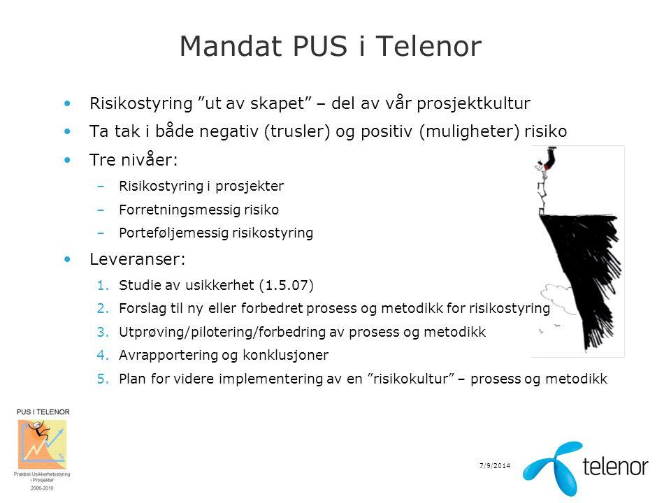 Mandat PUS i Telenor Risikostyring ut av skapet – del av vår prosjektkultur. Ta tak i både negativ (trusler) og positiv (muligheter) risiko.