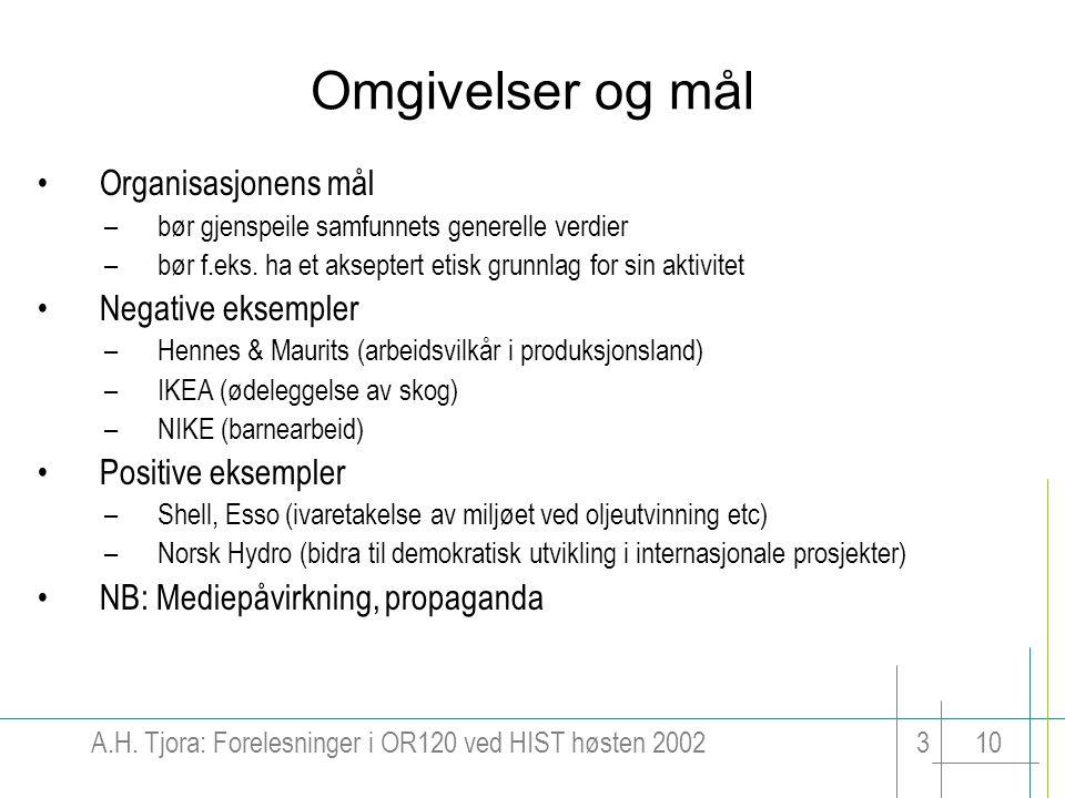 Omgivelser og mål Organisasjonens mål Negative eksempler