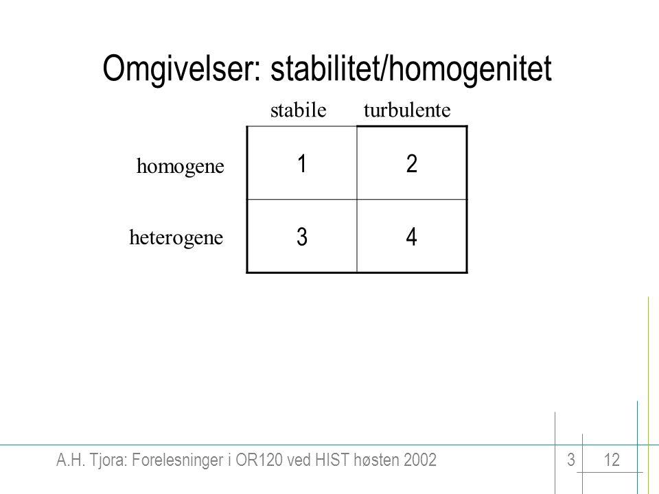 Omgivelser: stabilitet/homogenitet