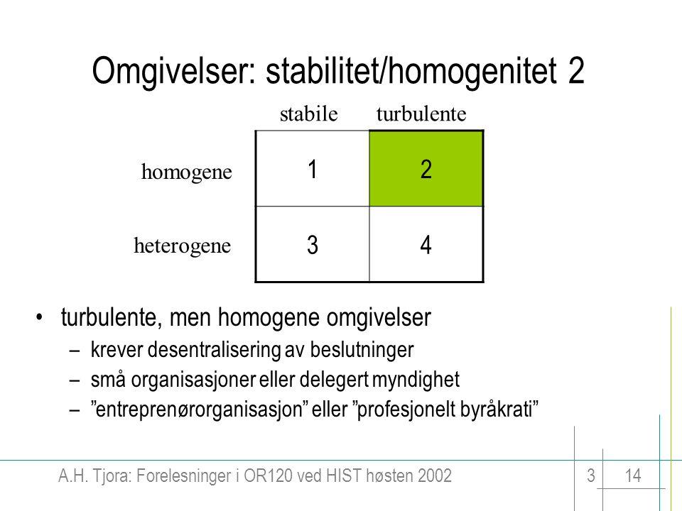 Omgivelser: stabilitet/homogenitet 2