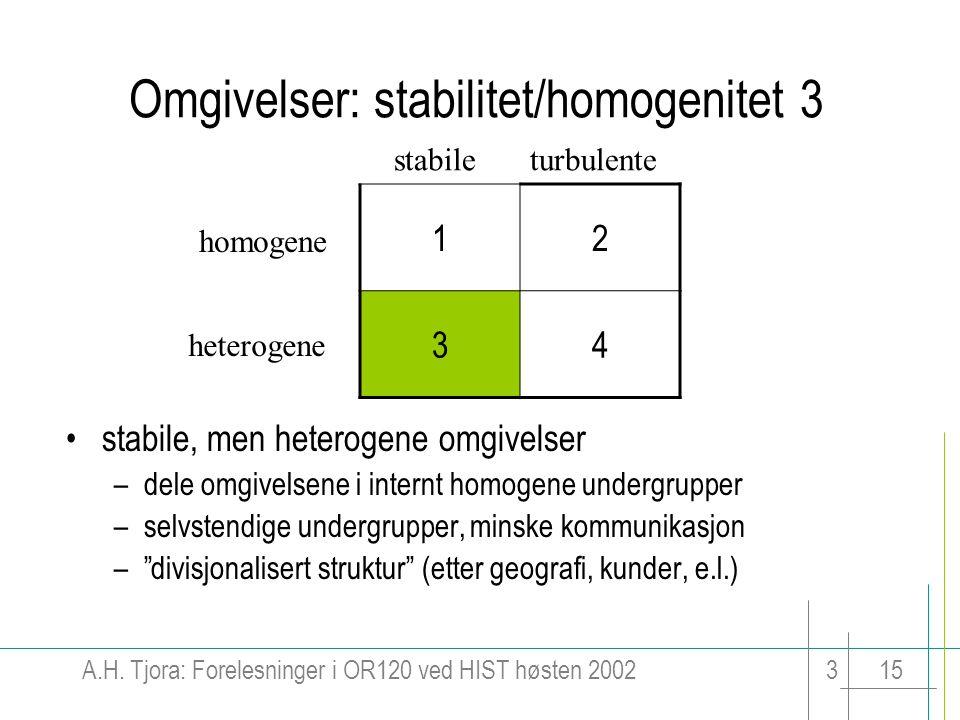 Omgivelser: stabilitet/homogenitet 3