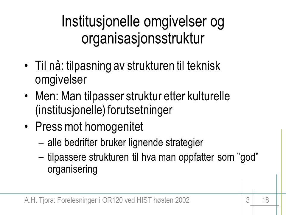 Institusjonelle omgivelser og organisasjonsstruktur