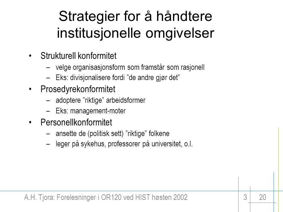Strategier for å håndtere institusjonelle omgivelser