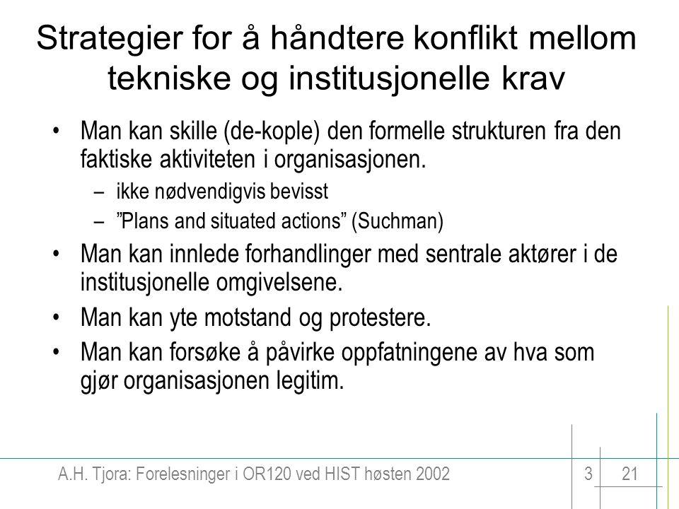 Strategier for å håndtere konflikt mellom tekniske og institusjonelle krav