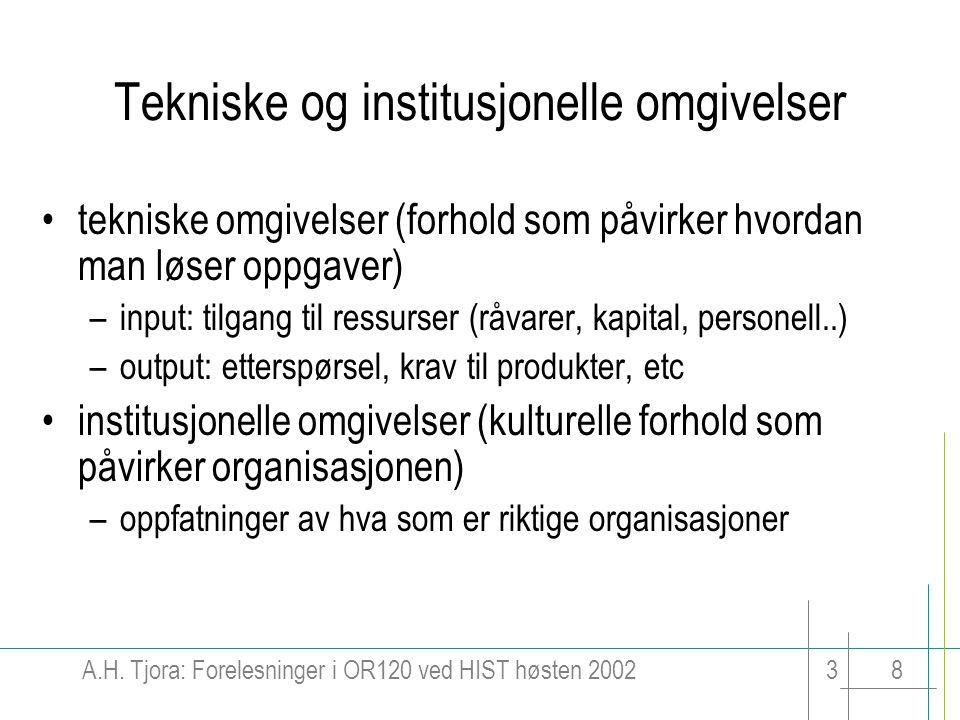 Tekniske og institusjonelle omgivelser