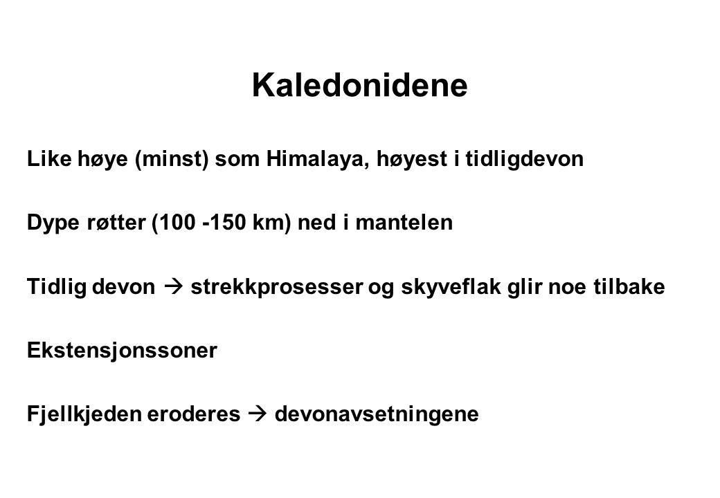 Kaledonidene Like høye (minst) som Himalaya, høyest i tidligdevon