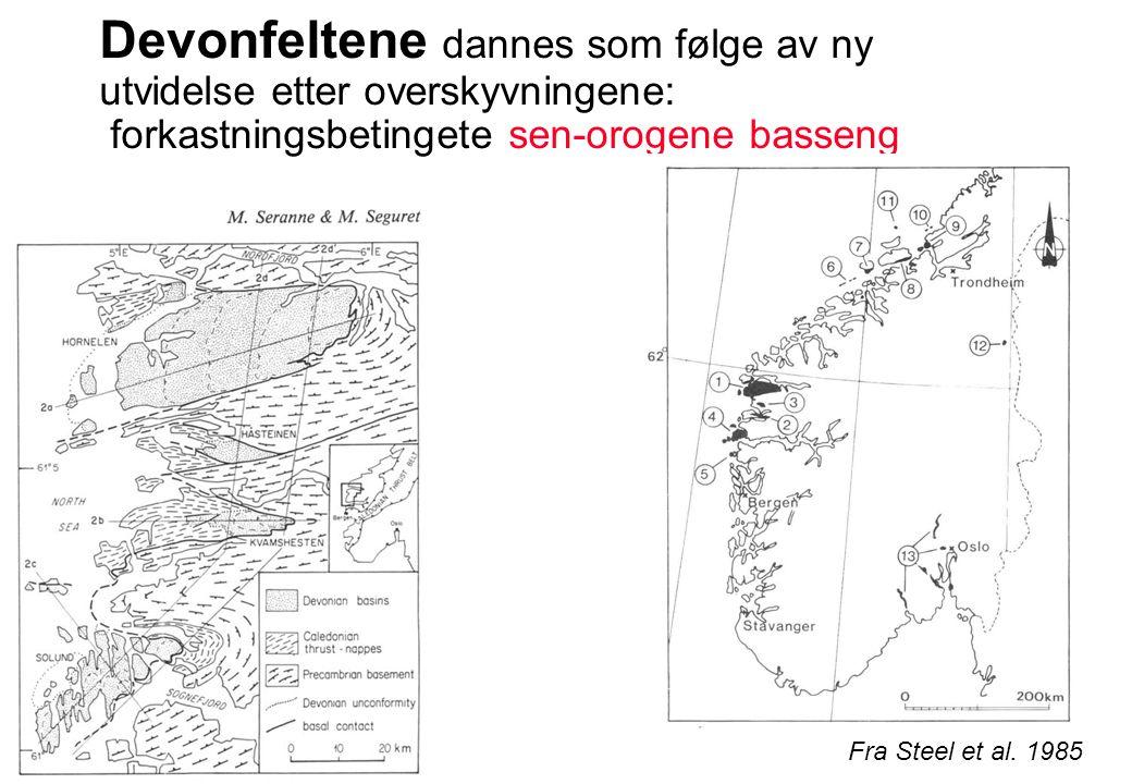 Devonfeltene dannes som følge av ny utvidelse etter overskyvningene: forkastningsbetingete sen-orogene basseng