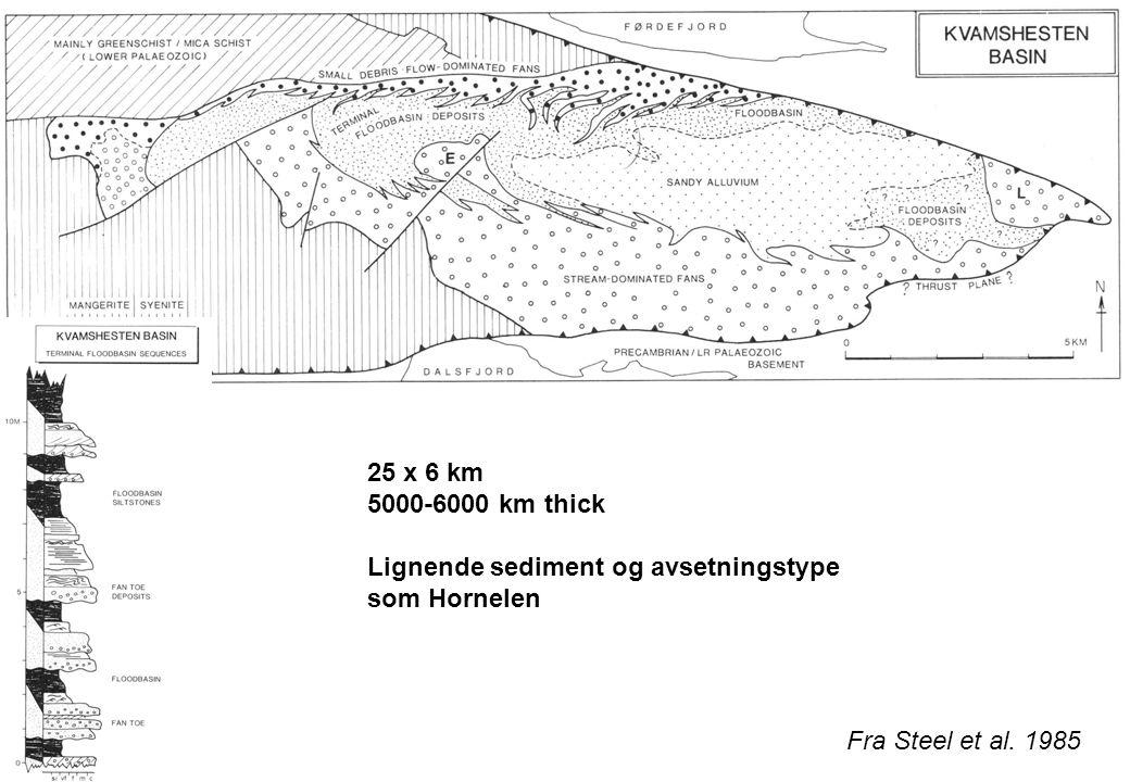 25 x 6 km 5000-6000 km thick. Lignende sediment og avsetningstype som Hornelen.