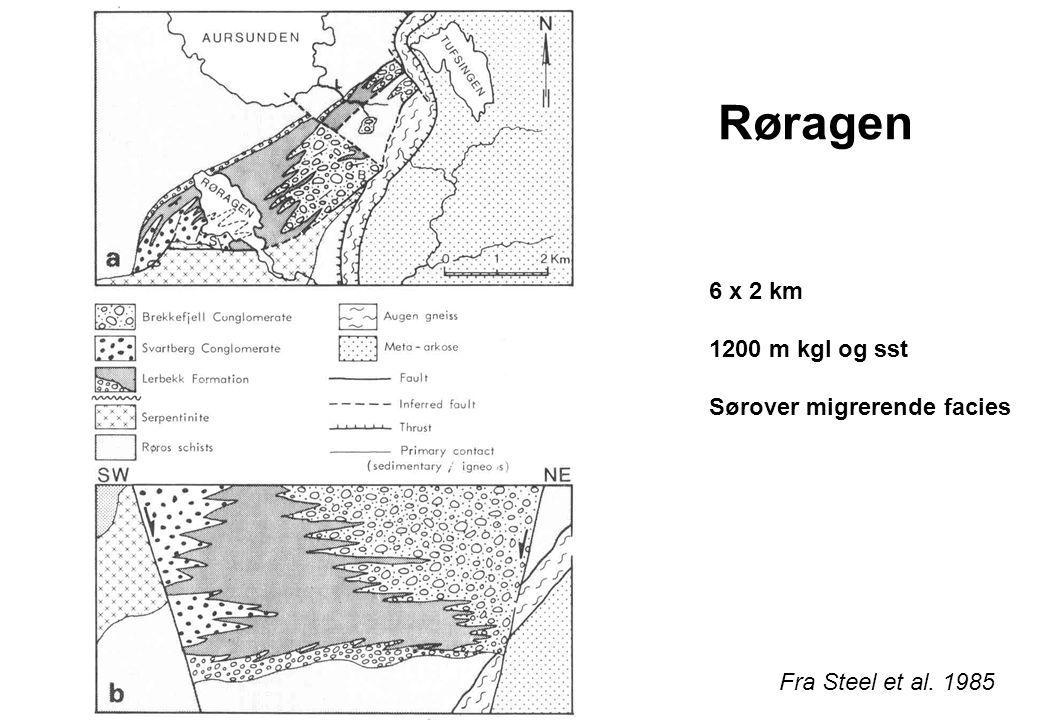 Røragen 6 x 2 km 1200 m kgl og sst Sørover migrerende facies