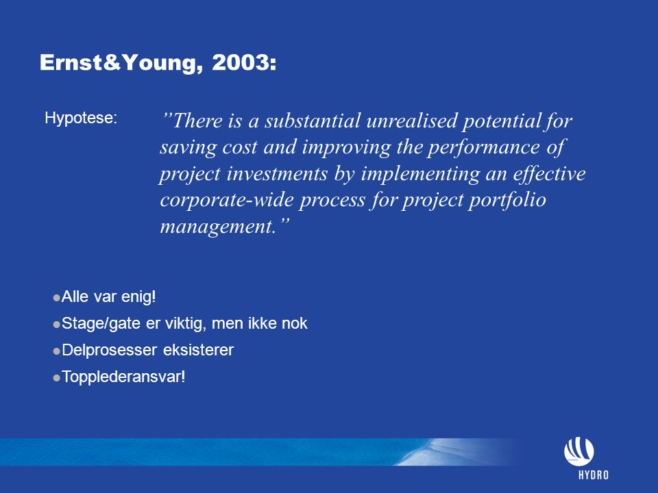 Ernst&Young, 2003: Hypotese: