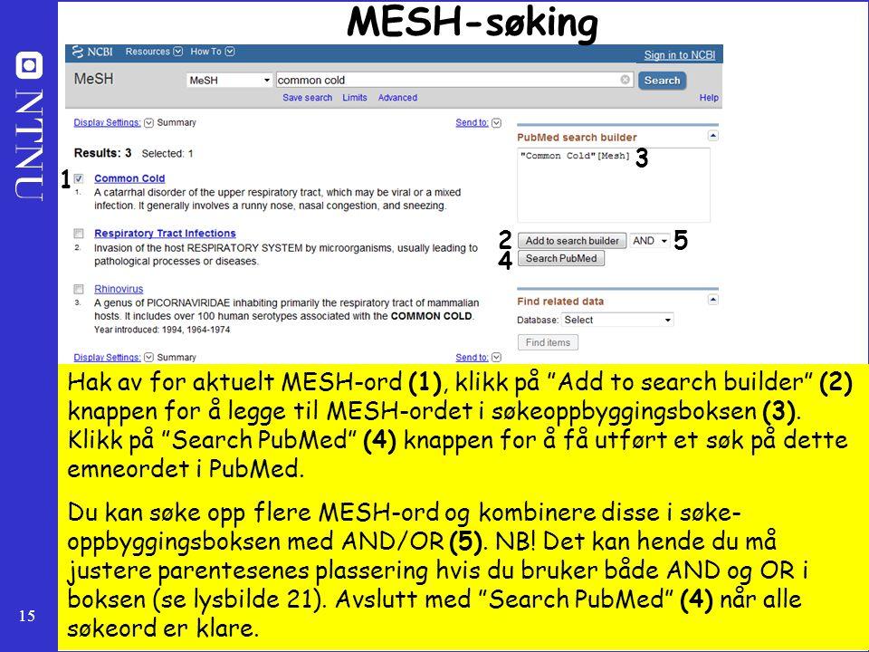 MESH-søking 3. 1. 2. 5. 4.