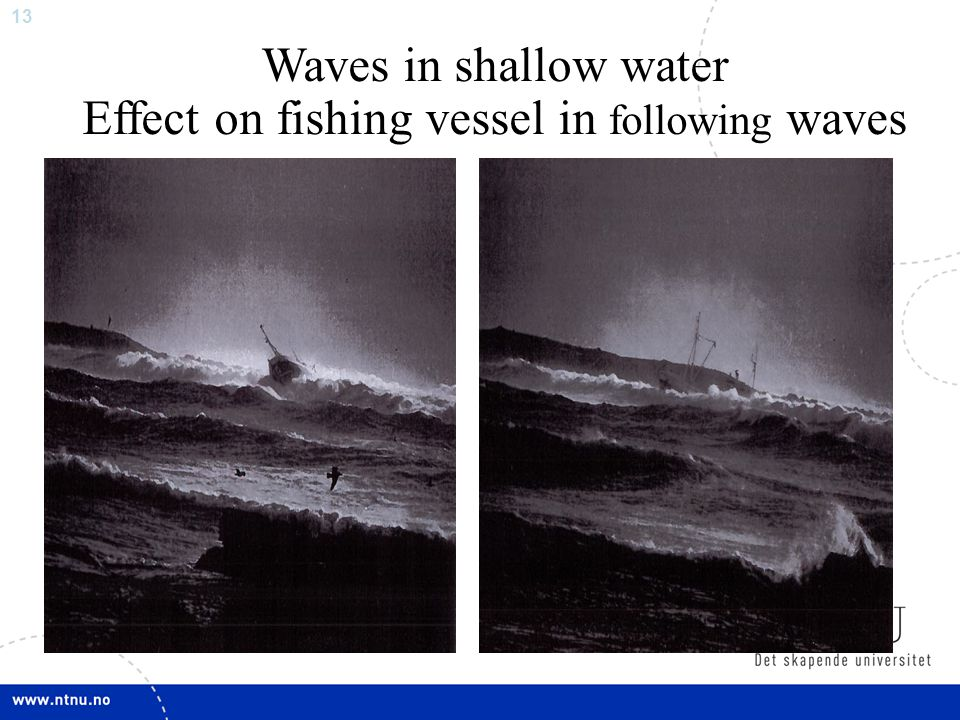 Effect on fishing vessel in following waves