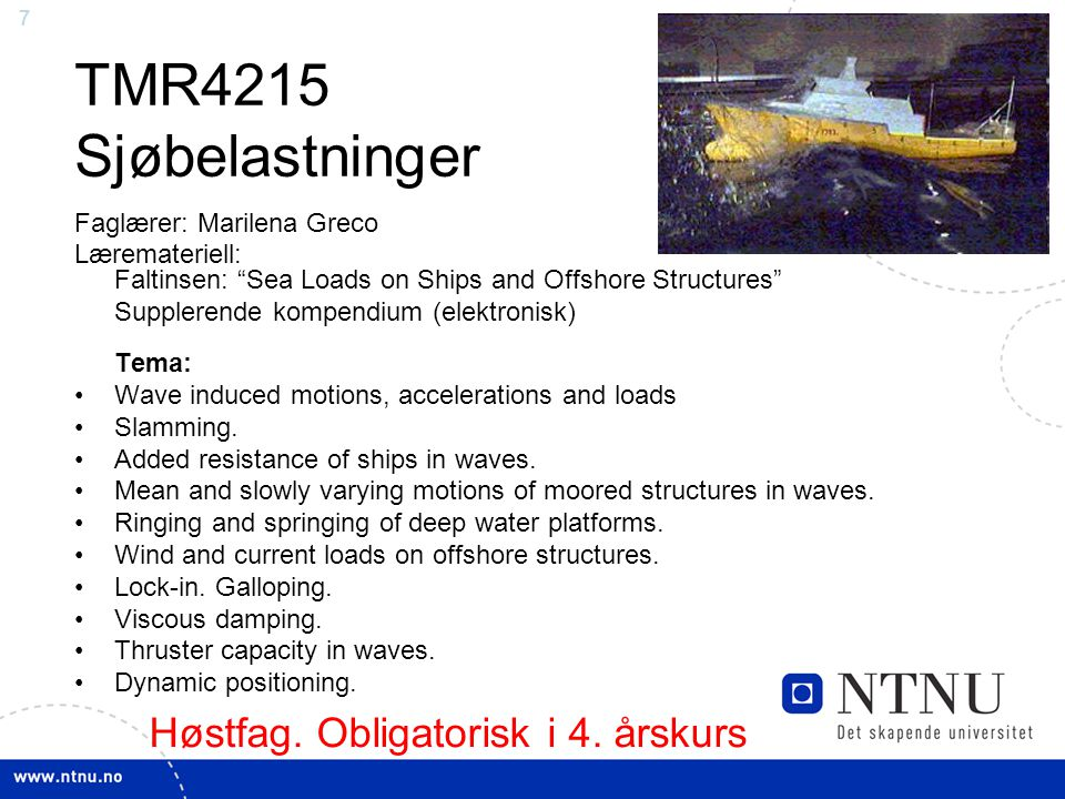 TMR4215 Sjøbelastninger Høstfag. Obligatorisk i 4. årskurs